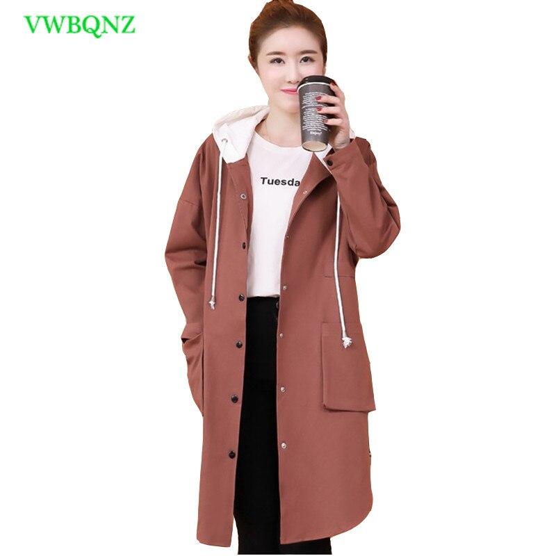 Women Long sleeve Windbreaker Coat Spring Loose Long   Trench   Coat Women's Korean Khaki Single-breasted Hooded Cardigan Coats A122