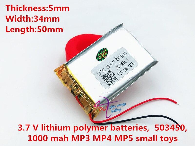 3,7 V 1000 mAh 503450 Lithium-Polymer Li-Po li ionen Akku zellen Für Mp3 MP4 MP5 GPS