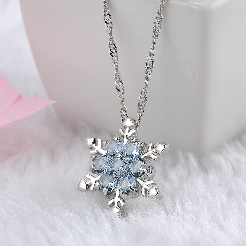 Charm vintage lady blue crystal snowflake zircon flower silver necklaces pendants jewelry for women free shipping