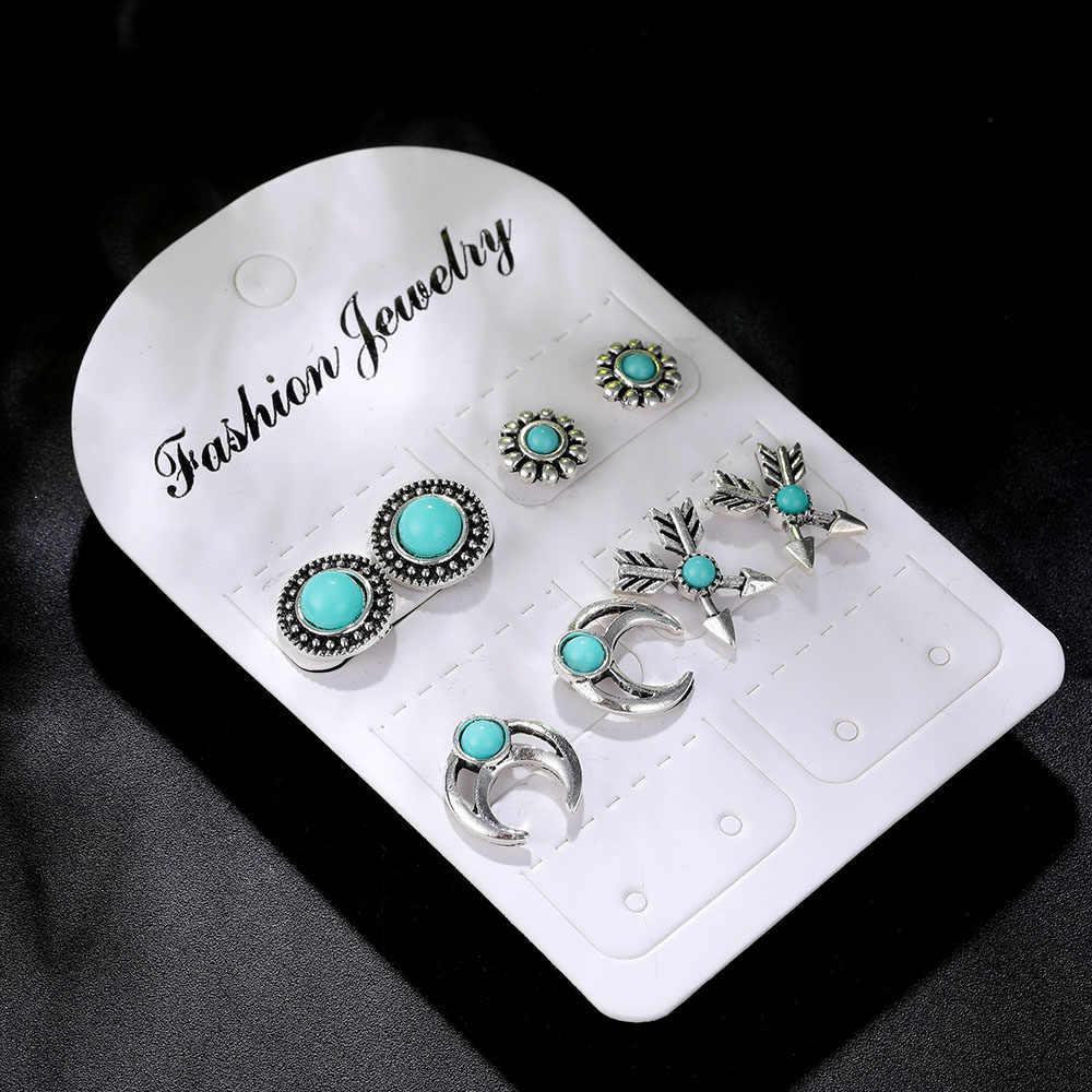 4Pairs /Set Boho Arrow Cross Moon Flower Gem Silver Earrings Set Women Punk Stud Earrings Set Personality Party Clothing Jewelry