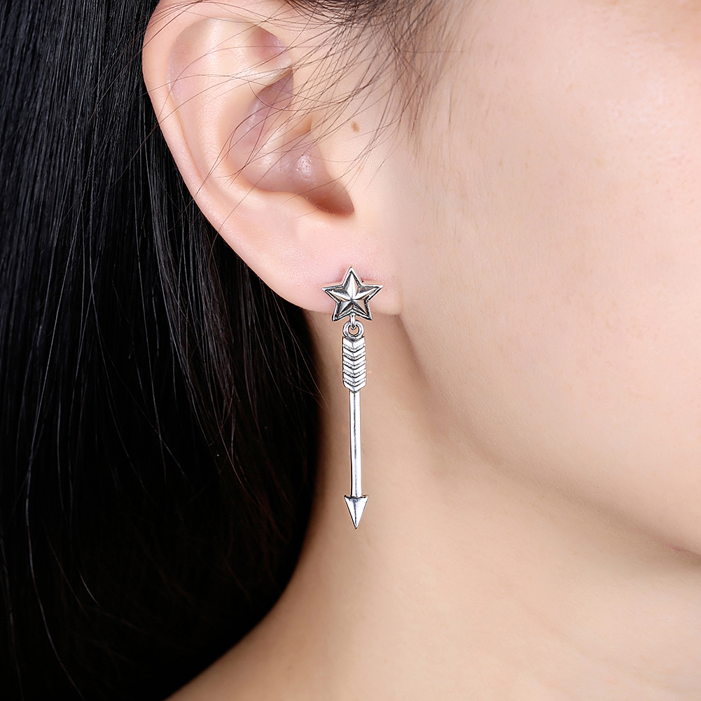 GOMAYA Vintage Star Drop Earrings Exquisite Arrows for Women Fine Jewelry Punk Retro Party Accessories 925 Sterling Silver in Earrings from Jewelry Accessories