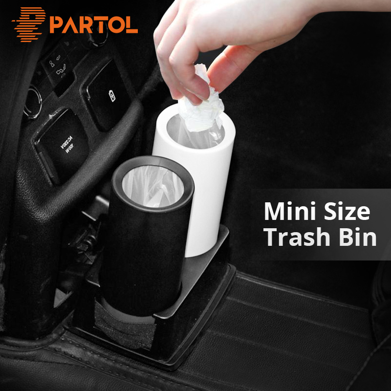 Partol Mini Car Garbage Can Trash Can Dust Case Holder Office Home Auto Vehicle Open Mouth Rubbish Bin Black White Car Styling mini soft silicone car trash bin rolling cover type garbage cup dust rubbish box container organizer interior accessories