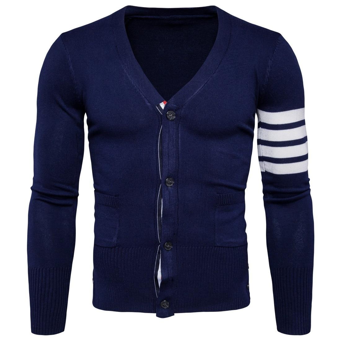 font b Mens b font V Neck Striped font b Sweater b font Casual Button