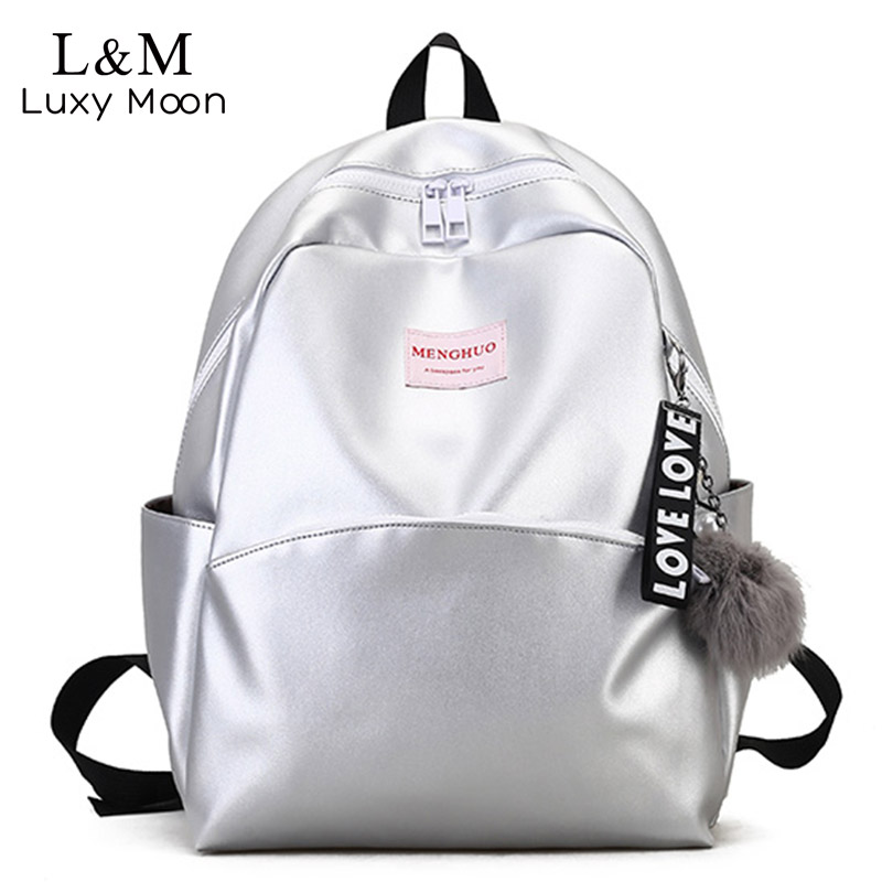Silver Glassy Backpack Teenage Girls School Bags Women Students Zipper Silver Leather Laser Holographic Backpacks Solid XA1030H