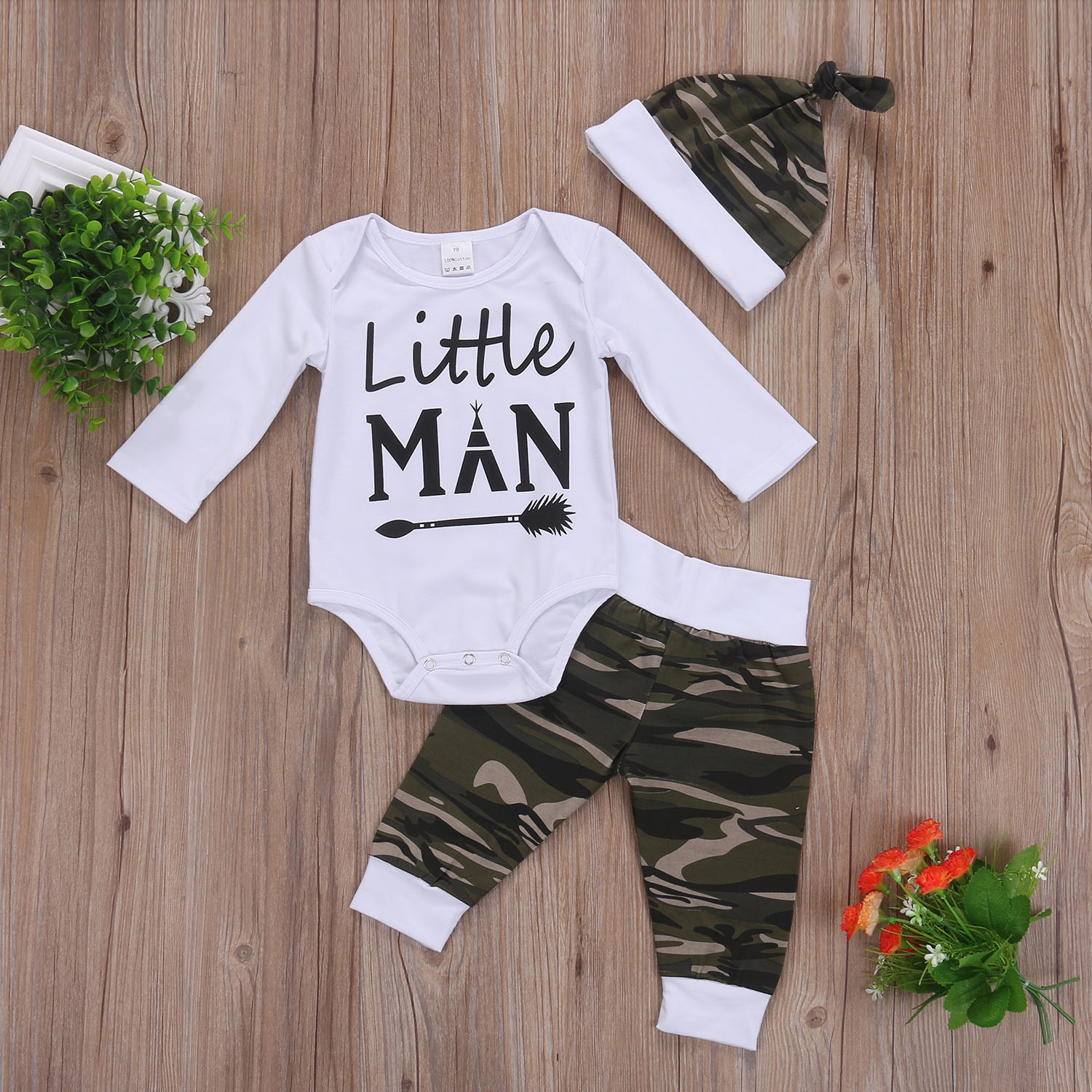 Camo Newborn Baby Boys Outfits 3Pcs Set Tops Romper Long Pants Hat Home Clothes Set 0-18M