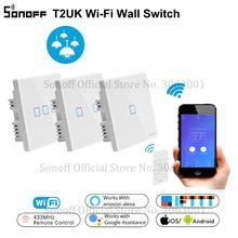 Interruptor táctil de luz de pared SONOFF T2UK Wifi, interruptor inteligente de 1/2/3 bandas Alexa, 433 RF/voz/APP interruptores de Control remoto Panel de vidrio TX