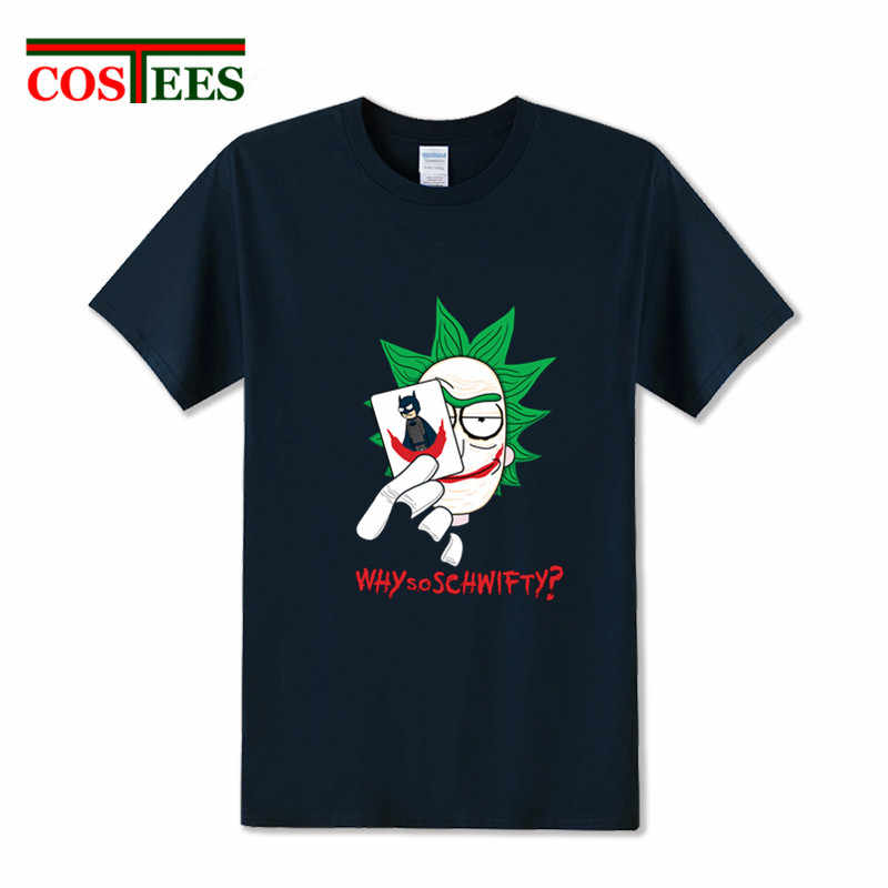 """Пародия Темный рыцарь Рик и Морти Mashup футболка для мужчин Рик футболка с надписью """"Schwifty"""" Забавные помогайки мультфильм Готэм-почему так серьезно футболка"""