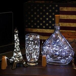 Image 5 - 6 Pcs Wein kork Lichter mit 20 LED Silber Kupfer Draht Girlande Fee String Lichter für Home Party Weihnachten Hochzeit dekoration