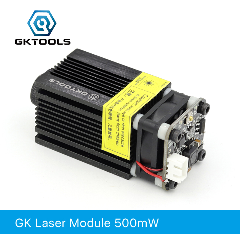 GKTOOLS 500mW 405nm 12V Blue Laser Module 2.54-3P TTL/PWM Modulation For DIY CNC Laser Engraver  Adjustable Focus FB03-500