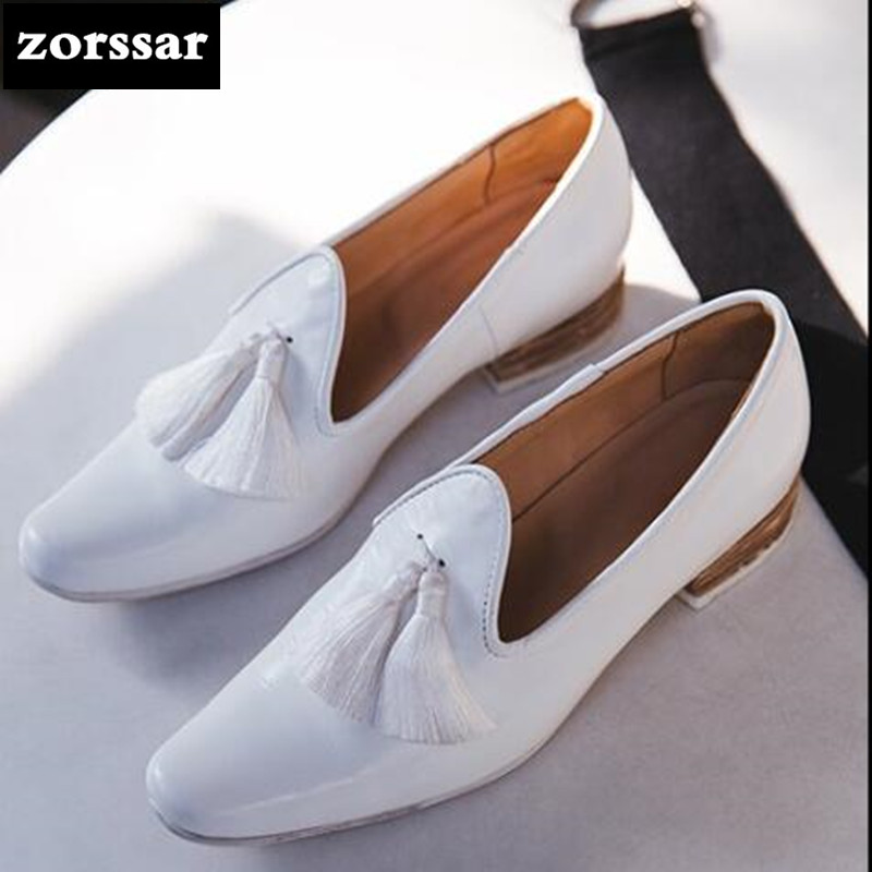 {Zorssar} 2018 New arrival Genuine Leather Leisure ladies shoes low heel shoes pumps fashion tassel women pointed toe High heels bfdadi 2018 new arrival hat genuine