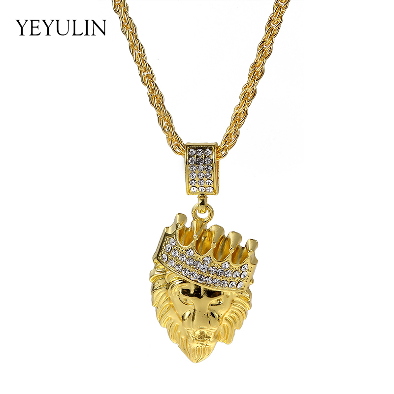 New Arrival Hip Hop Crown Lion Crystal Pendant Necklace Long Cuba Chain Statement Jewelry For Male image