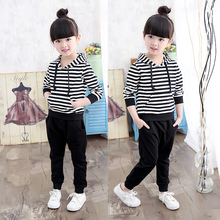 New Arrival spring and autumn girls clothing sets fashion striped hoodies sweatshirt + pants casual sports set