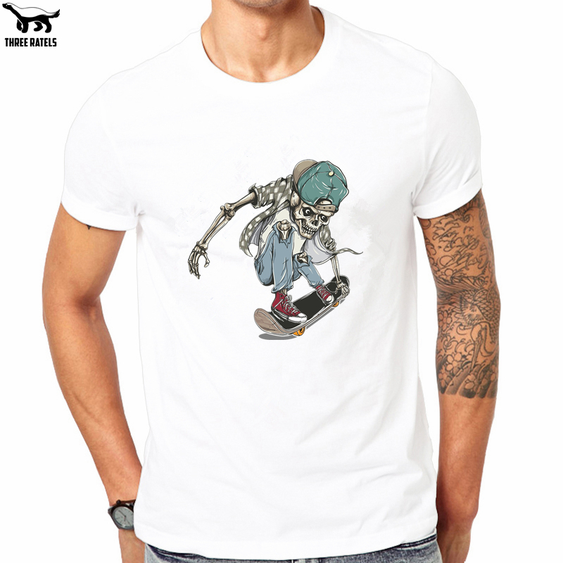 Three Ratels FUT520# 2018 Summer fashion white T Shirt with skating skull boy with a cap on skateboard tshirt mens clothes