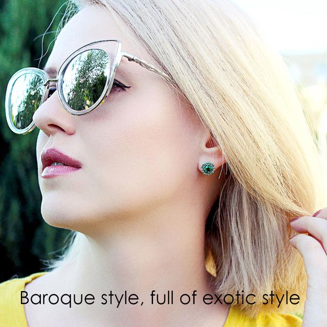 e-Manco 925 Sterling Shining Green Zircon Earring Wholesale Fashion Flower Glittering Earring Best Gifts New Arrival