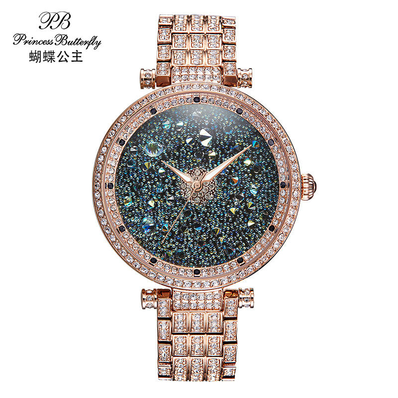 PB Luxury Brand Watches font b Women b font fashion watch 2017 Quality Crystal Diamond Bracelet