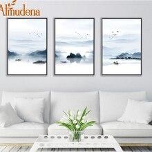 Альмодена нордическая Гора и озеро пейзаж живопись без рамки Холст Плакаты и печать, Картина Настенная для украшения гостиной