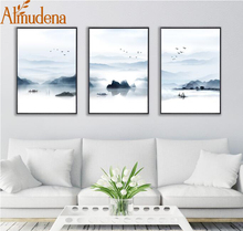 ALMUDENA Nordic Mountain and Lake Landscape Painting No Frame Canvas Posters Prints Wall Picture for Living Room Decoration