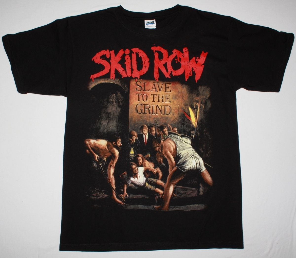 <font><b>SKID</b></font> <font><b>ROW</b></font> SLAVE TO THE GRIND'91 GLAM ROCK SKIDROW DOKKEN RATT NEW BLACK <font><b>T</b></font>-<font><b>SHIRT</b></font> Personalized <font><b>T</b></font> <font><b>Shirt</b></font> Custom <font><b>T</b></font> <font><b>Shirt</b></font> Top Tee image