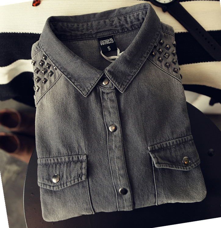 denim blouse dames sale