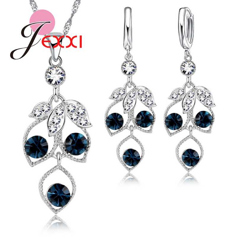 925 Sterling Silver Lovely Cute Cubic Zirconia Crystal Grape Drop Pendant Earrings Necklace Sets Romantic   Jewelry Sets