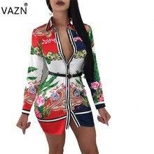 071259a788a3c VAZN 2018 Yeni Gelmesi Ünlü Marka Bandaj Elbise Tam Kollu Mini Baskı  Elbiseler Vestido De Festa