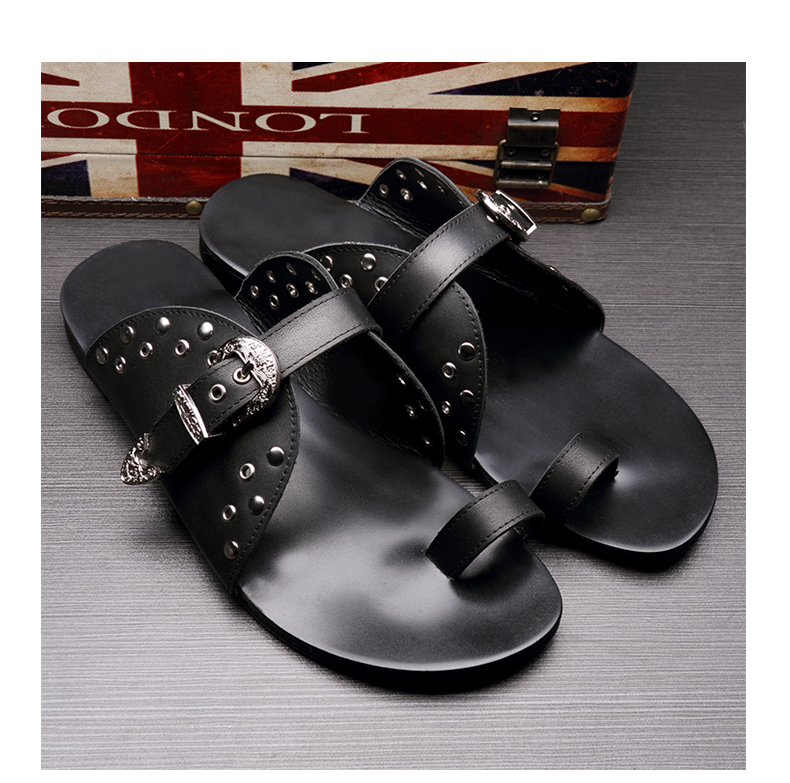 Studs Mens Genuine Leather Cool Sandals Flats 2018 Black Sandals Flip Flops Genuine Leather Man Casual Slippers Shoes Size43 - 6