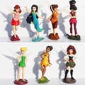 7pcs/set 5-7cm Kids Gift Tinkerbell Dolls Flying Flower Fairy Children Animation Educational Cartoon Toys BabyToy WJ435