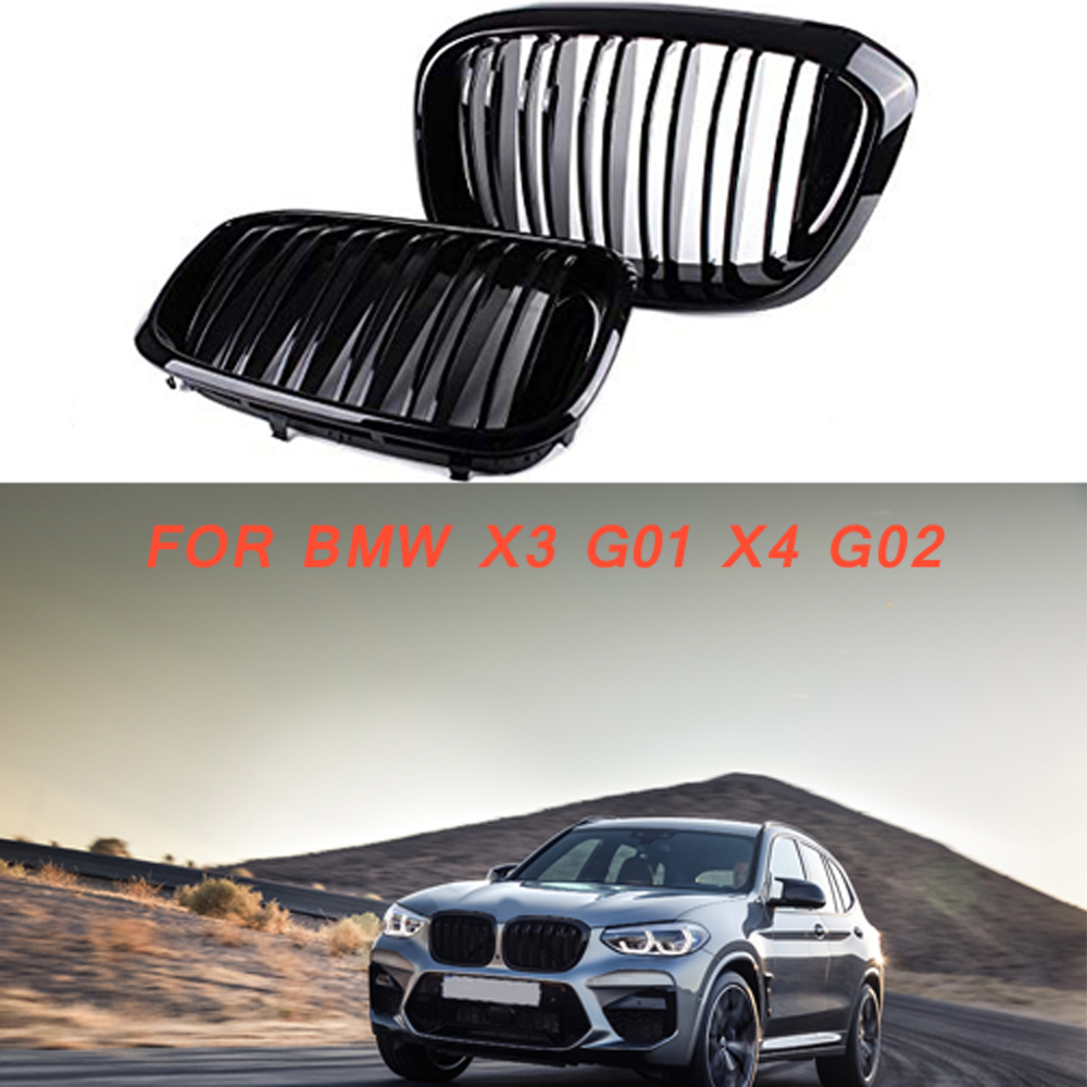 Gloss black Front Kidney Grille Slat Style Grill for For BMW X3 G01 X4 G02 for BMW x3 25i 28i
