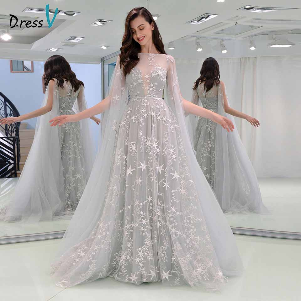 Dressv   evening     dress   scoop neck long sleeves button lace floor-length wedding party formal   dress   a line   evening     dresses