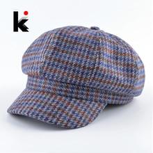 Винтажная кепка газетчика для женщин художественная клетчатая кепка восьмиклинка головные уборы для мужчин уличные повседневные береты осенне-зимняя уличная мода твид кепки на плоской подошве шляпы