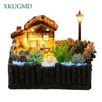 1 pçs vaso de flores com luz decorativa clássico pastoral plantador vasos suculentos cacto ervas planta ornamento desktop grasse cottage