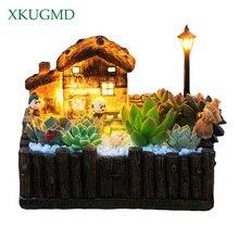 1 pcs flowerpot with light decorative classic pastoral planter pots succulent cactus herbs plant desktop ornament Grasse Cottage