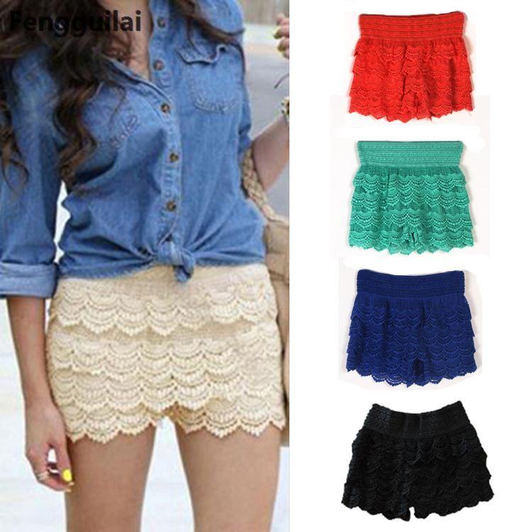 New Woman Shorts Fashion Cotton Crochet +Mercerized Lining Mini Lace Tiered Shorts S M L Xl Hot Selling J5216