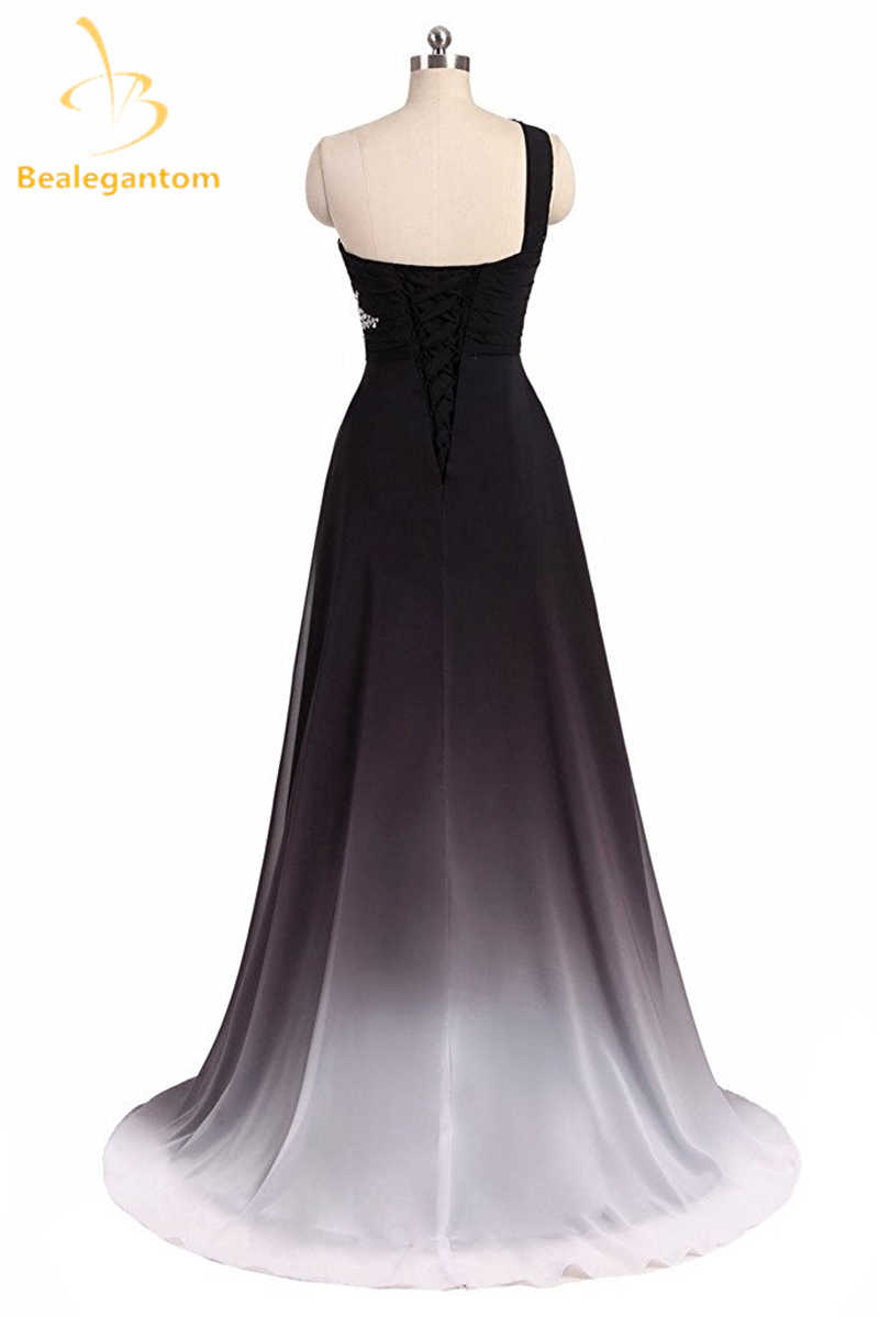6ac0e35932c ... Bealegantom One Shoulder Black Red Ombre Prom Dresses 2018 With Chiffon  Plus Size Evening Party Gowns ...