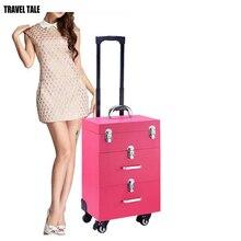 SEYAHAT MASALı kadın güzellik tekerlekli çanta profesyonel makyaj kozmetik çantası bavul çivi