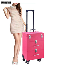 TRAVEL TALE women beauty trolley case professional make up cosmetic bag suitcase for nails