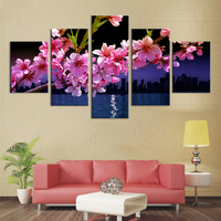 5 Pieces Set Canvas Printed Painting Gold Orchid Prints Posters And Nordic Modular Pictures Decoration Prints