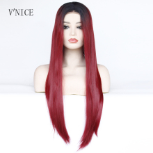 V'NICE Natural Long Straight Dark Roots Ombre Wine Red Wig Middle Part