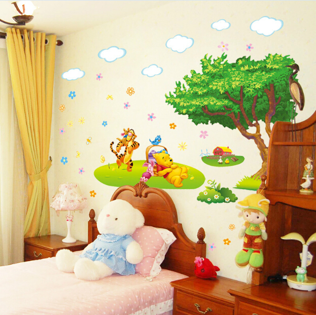 Marvelous Winnie The Pooh Wall Sticker Part - 11: Winnie The Pooh Wall Sticker Baby Kids Room Poster Cartoon Wallpaper Tree Wall  Decal Art Stickers Adesivo Kids Parade Home Decor-in Wall Stickers From  Home ...