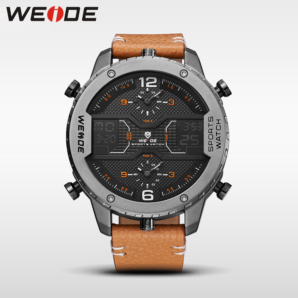 WEIDE genuine luxury brand watch quartz men leather sports watches LED Double display relogios waterproof digital alarm clock weide genuine top brand luxury men watch led sport digital black quartz relogios masculino watches large discs electronic clock