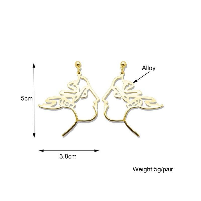 F.J4Z Brand New Jewelry Chic Earrings Unique Hollow Men Women Face Outline Pendant Earrings Alloy Pattern gifts De Mujer Bijoux