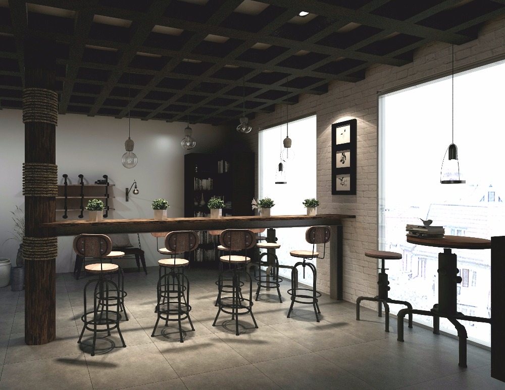 Stile industriale sgabello da bar sedia girevole pinewood top con