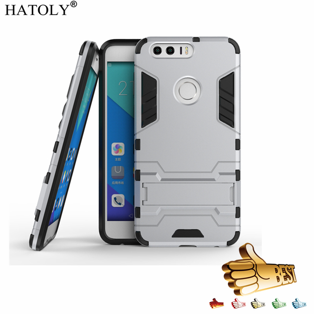 super popular ec57c 41738 US $2.68 37% OFF|HATOLY For Armor Case Huawei Honor 8 Case Honor 8 Robot  Hard Silicone Rubber Hard Back Phone Cover For Huawei Honor 8 5.2