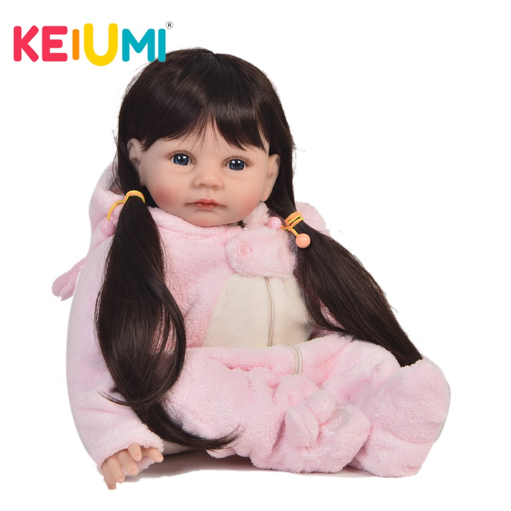 KEIUMI Fashion 22 Inch Newborn Reborn Baby Girl Doll Silicone Soft Stuffed Body Preemie Baby Doll Toy For Kids Christmas Gifts