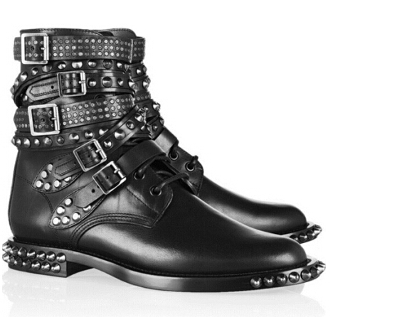 b3edd8ae470 US $129.9 |2016 Women Brand Genuine Beather Gladiator Black Pointed Toe  Rivet Studded Buckled Ankle Boot motorcycle shoes In Stock-in Ankle Boots  from ...