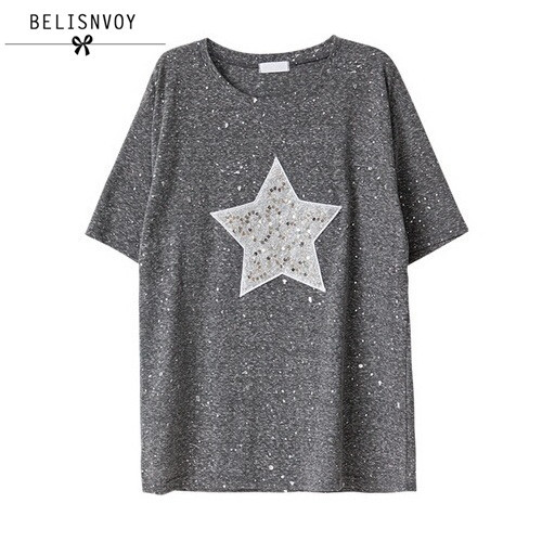 2018 Women Summer Plus Size T Shirt Shiny Star Patterns With Sequined T-shirt  Women 7a43a5033ffd