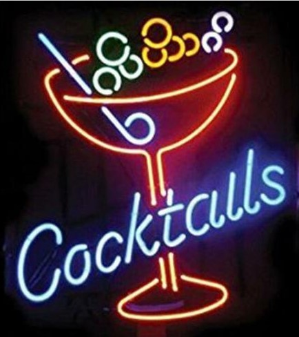 Custom Cocktails Martini Cup Glass Neon Light Sign Beer Bar