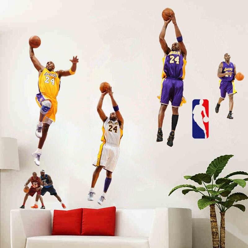 Amovible Diy Vinyle Papier Peint Star Du Basket Kobe Jordan James