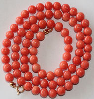 1052 PINK SALMON CORAL Bead CLASP KNOTTED NECKLACE
