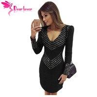 Dear Lover Club Party Dress 2016 Autumn Black Royal Blue Studded V Neck Long Sleeve Mini